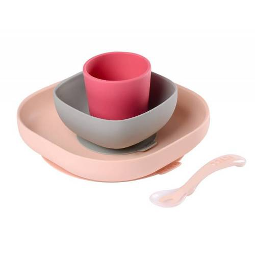 BEABA Silicone Meal Set 4pcs - Pink
