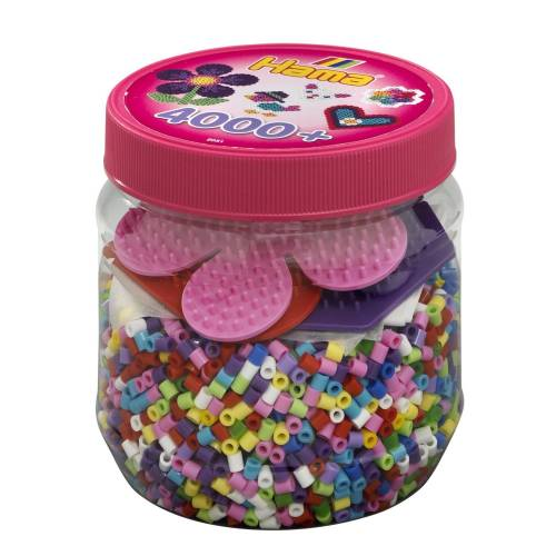 Hama Beads and Pegboards in tub - 4000 beads Pink