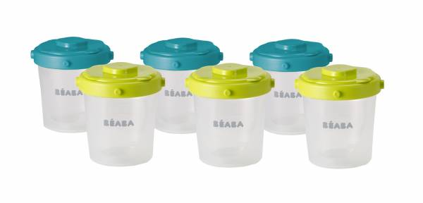 BEABA Food Jar Portions Set of 6 200ml- Blue Neon