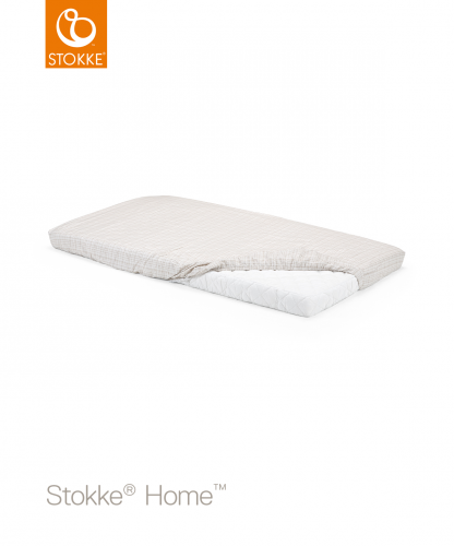 STOKKE Home Bed Fitted Sheet - White/Beige 2pc