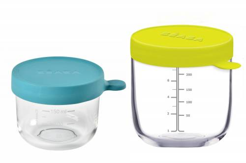 BEABA Food Jar Glass Set - Blue Neon 150/250 ml