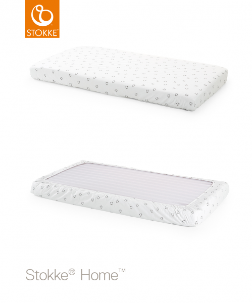 STOKKE Home Bed Fitted Sheet - White Monochrome Bear 2pc